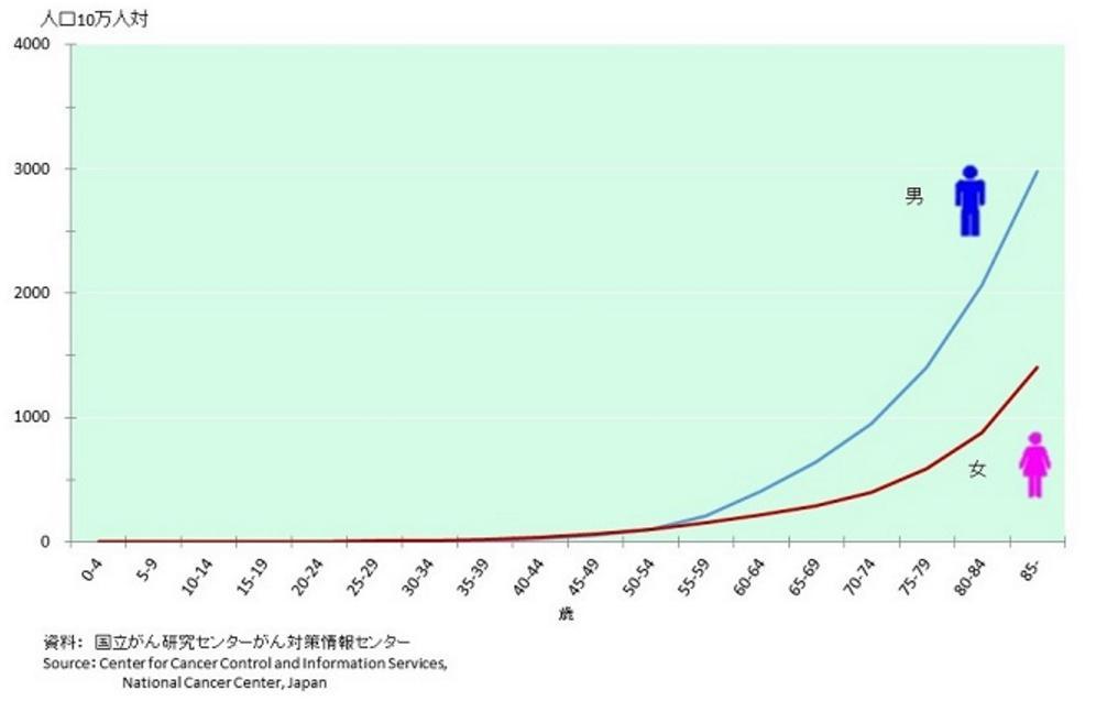 年齢別がん死亡者統計データー